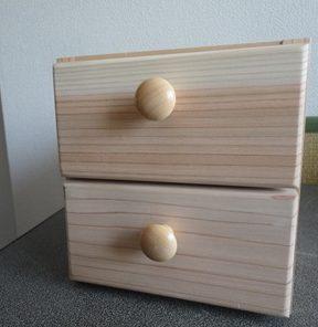 2段引き出しの小物入れを作る・・・引き出し組み立て、そして完成!
